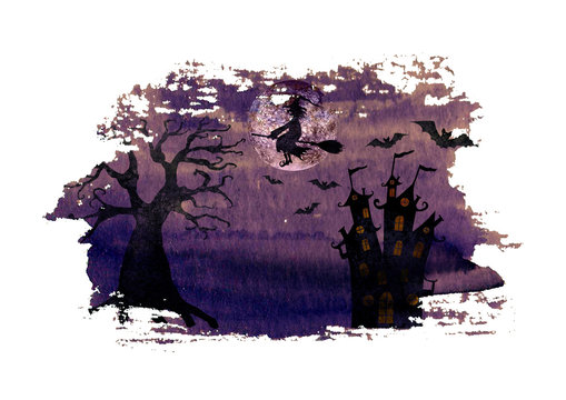 Halloween dark purple night background with wicked witch flying on broom, terrible dead tree, castle, bats and full moon