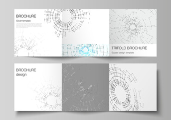 The vector layout of covers design templates for trifold square brochure or flyer. Network connection concept with connecting lines and dots. Technology design, digital geometric background.