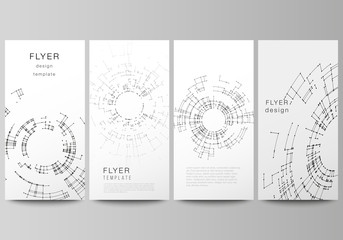The minimalistic vector illustration of editable layout of flyer, banner design templates. Network connection concept with connecting lines and dots. Technology design, digital geometric background.