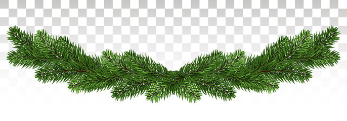 Christmas background with garland, New Year decoration with fir branches, beads and holly berry. A broad garland of pine branches. New Year. Vector. Eps10. Wall mural
