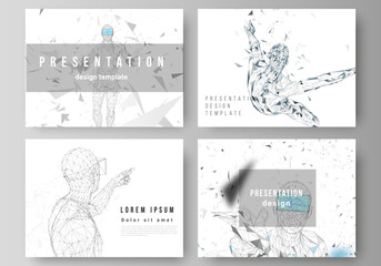 The minimalistic abstract vector illustration of the editable layout of the presentation slides design business templates. Man with glasses of virtual reality. Abstract vr, future technology concept.