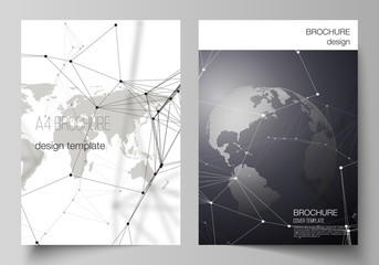 Vector layout of A4 format cover mockups design templates for brochure, flyer, booklet. Futuristic design with world globe, connecting lines and dots. Global network connections, technology concept.