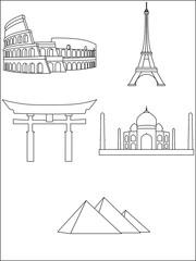 Most famous buildings on the world - outlines | Najbardziej znane budynki na świecie - kontury