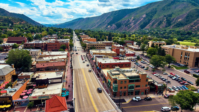Aerial Glenwood Springs Rocky Mountains