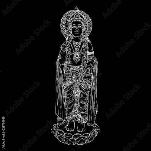Lord Murugan classic statue drawing, God of war, son of