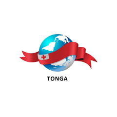 Vector Illustration of a world – world with tonga flag