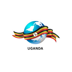 Vector Illustration of a world – world with uganda flag