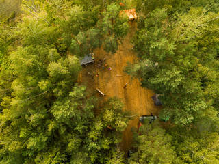 Drone view of a camping site in front of the lake in Vileyka, a beautiful region near Minsk, Belarus