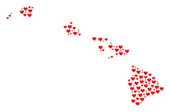 Collage map of Hawaii State created with red love hearts. Vector lovely geographic abstraction of map of Hawaii State with red dating symbols. Romantic design for dating projects.