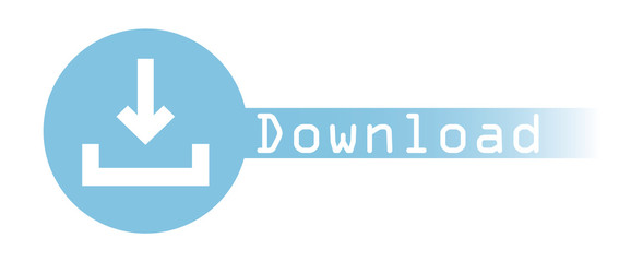 Blue Download vector web button with down arrow