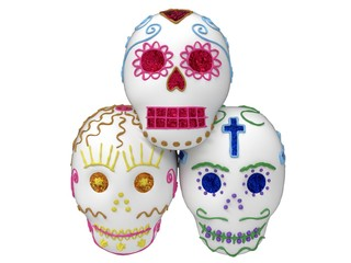Sugar skulls for the Day of the Dead, stack of three, isolated on white. 3D render / illustration