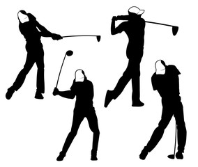 golf outdoor sport vector logo design inspiration, a player hits the ball with a swing stick