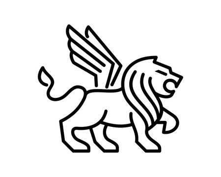 Abstract Vector Line Art Animal King of the Jungle Lion with Wings Sign Symbol Icon Logo Template Design Inspiration