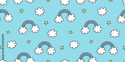Cute colorful seamless pattern of hand drawn doodle elements