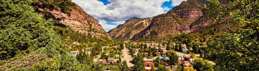Town of Ouray mountain town of Colorado panorama