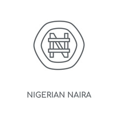 Nigerian Naira linear icon. Nigerian Naira concept stroke symbol design. Thin graphic elements vector illustration, outline pattern on a white background, eps 10.