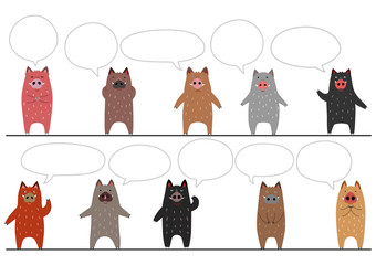 funny boars border with speech bubbles
