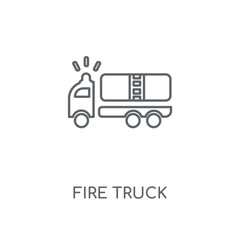 Fire truck linear icon. Fire truck concept stroke symbol design. Thin graphic elements vector illustration, outline pattern on a white background, eps 10.