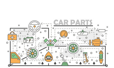 Vector thin line art car parts poster banner template
