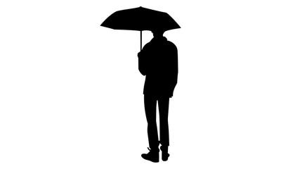 male silhouette is using an umbrella