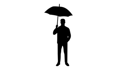 Silhouette vector image of a man holding an umbrella with his right hand