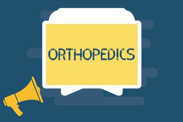 Handwriting text writing Orthopedics. Concept meaning Medical specialty concerned with correction of deformities.