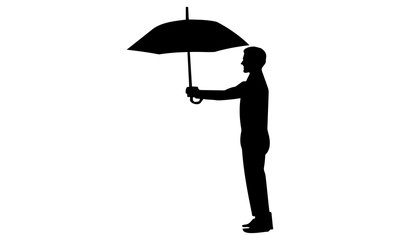 Silhouette vector style men when giving umbrellas