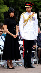 Britain's Prince Harry and Meghan, Duchess of Sussex, attend the opening of the enhanced ANZAC memorial in Hyde Park, Sydney