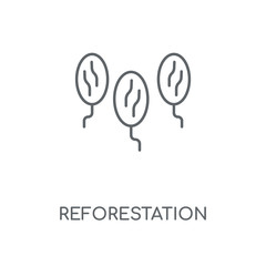 Reforestation linear icon. Reforestation concept stroke symbol design. Thin graphic elements vector illustration, outline pattern on a white background, eps 10.