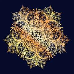 Sacred Geometry. Dark magic night sky Mandala round crescent moon and wild lily ornament.