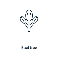 Bael tree concept line icon. Linear Bael tree concept outline symbol design. This simple element illustration can be used for web and mobile UI/UX.