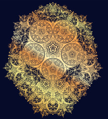Sacred Geometry. Dark magic night sky ornate composition with crescent moon and wild lily ornament.
