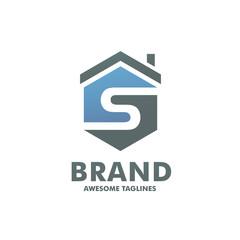 creative Hexagon letter S house logo design vector template