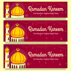 Vector Ramadan Kareem Horizontal Banner Template With Hand Drawn Mosque Il Ration
