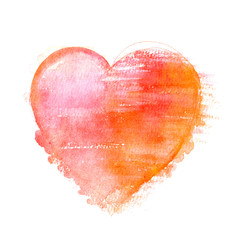 A watercolour drawing of a pastel pink and golden heart, hand drawn on a white background