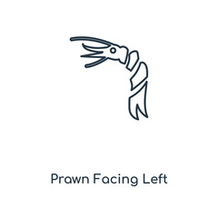 prawn facing left icon vector