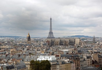 Panorama of Paris with Eiffel Tower from Basilica of Notre Dame