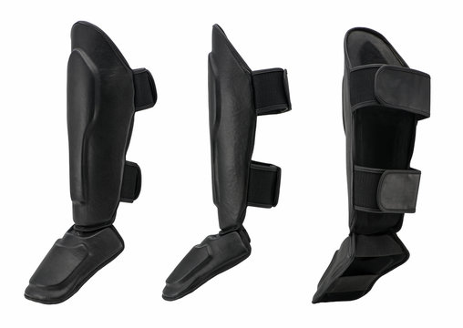 leg and knee protection in karate and kickboxing, on white background. sportswear