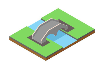 Isometric illustration of the concept of bridge traffic, vector illustration