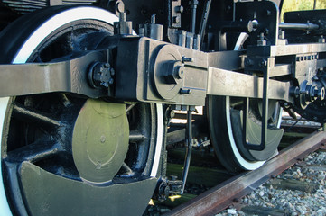 Closeup of old train wheels on track