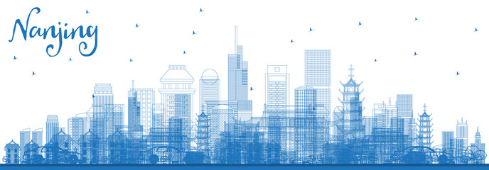 Outline Nanjing China Skyline with Blue Buildings.