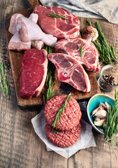 Deurstickers Vlees Different types of raw meat