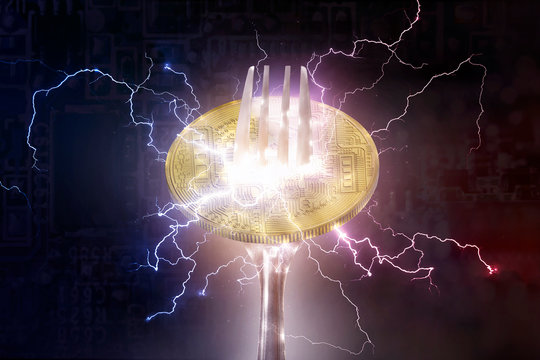Bitcoin or altcoin digital cryptocurrency hard fork change concept.