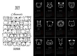 Funny animals, calendar 2019 design