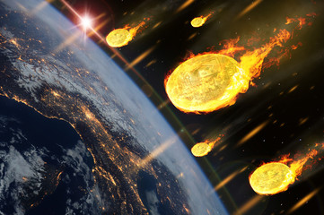 The price of bitcoin or cryptocurrency coins are falling like entering the Earth atmosphere.(Elements of this image furnished by NASA)