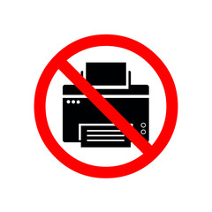 Printer line icon in prohibition red circle, No printing ban sign, forbidden symbol. Vector illustration isolated on white