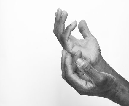 praying hands in black and white stock photo