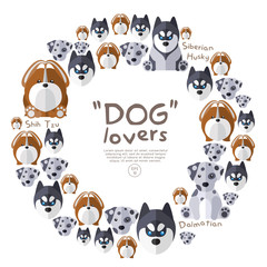 Set of dog face on white background : Vector Illustration