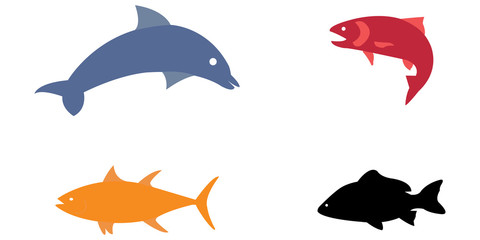 Vector illustration set of colorful sea animals