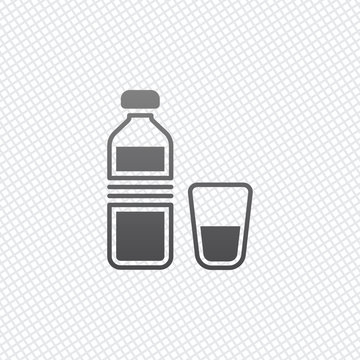 bottle of water and glass cup. simple icon. On grid background